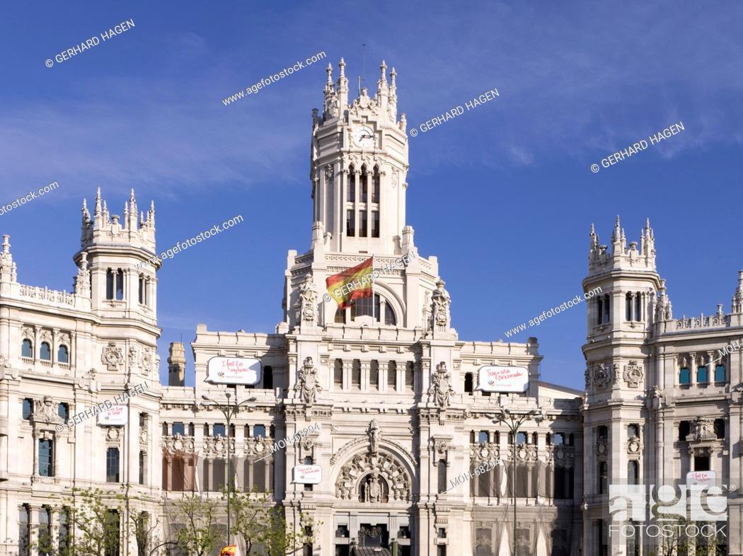 Madrid Palacio De Comunicaciones Plaza De Cibeles Stock