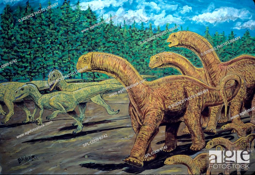 Stock Photo: Patagosaurus right herd and Piatnitzkysaurus floresi left herd. Patagosaurus was a herbivorous dinosaur, Piatnitzkysaurus floresi was a carnivorous dinosaur.