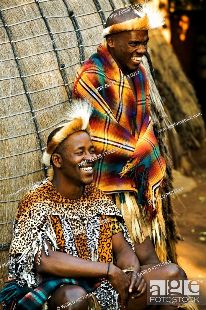 People Zulu Men In Traditional Dress Lesedi Cultural Village Near