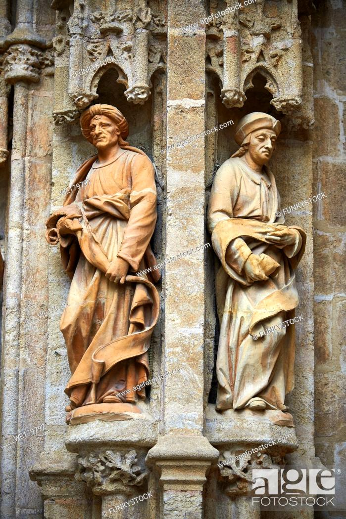 Stock Photo: Statues of The Gothic Puerta de Campanilla entrance door of the Cathedral of Seville, Spain.