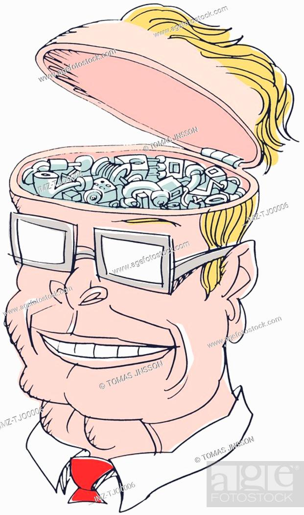 Stock Photo: A man with his head full of thinking gears.