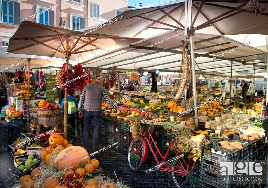 Stock Photo: Campo De Fiori market, Rome, Italy.