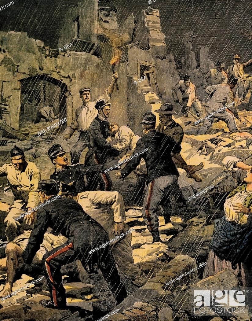 Stock Photo: Earthquake in Calabria, by Achille Beltrame (1871-1945), from La Domenica del Corriere, 1907.