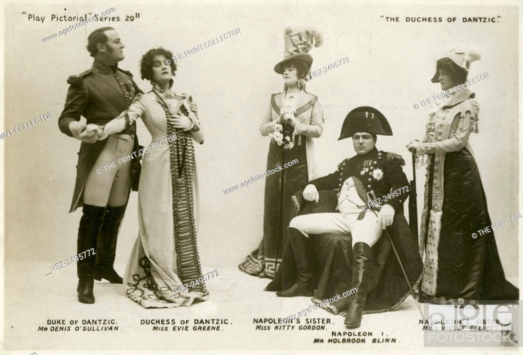 Stock Photo: Members of the cast of The Duchess of Dantzic, c1903. Denis O'Sullivan as the Duke of Dantzic, Evie Greene as the Duchess of Dantzic.