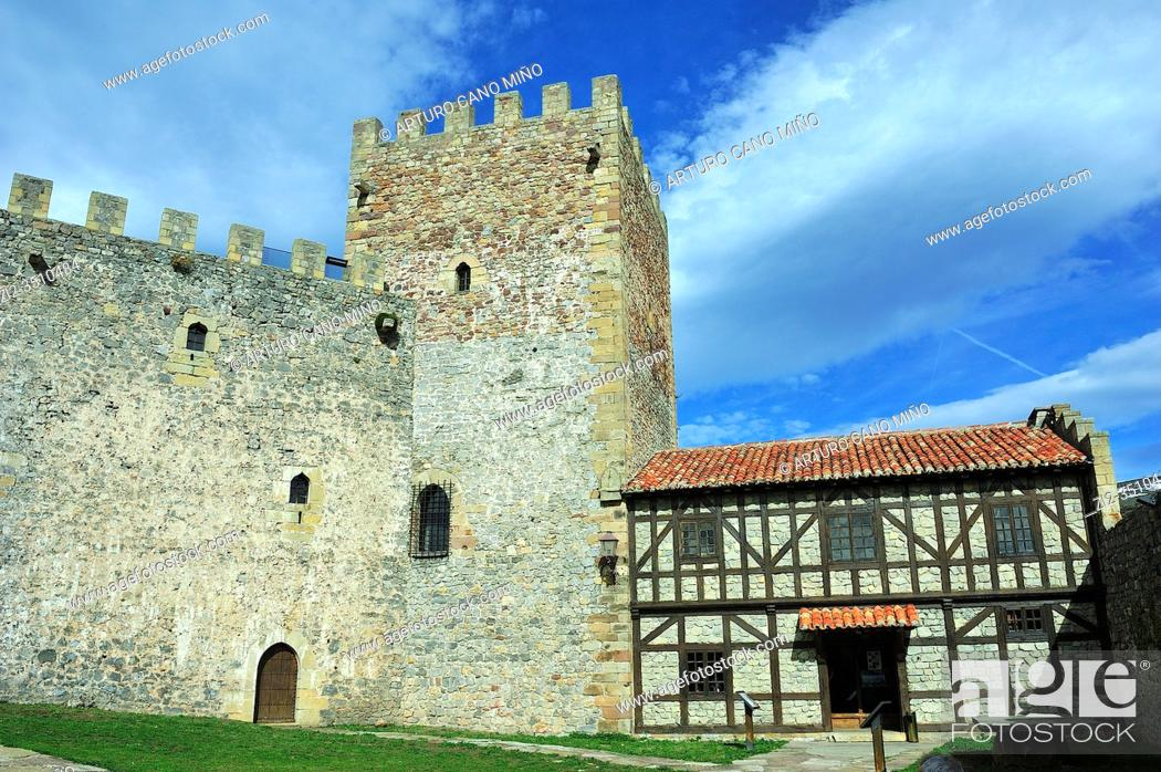 Stock Photo: The Castle of San Vicente. Argüeso town, Cantabria province, Spain.