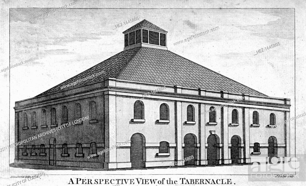 Stock Photo: Perspective view of Whitefield's Tabernacle, Moorfields, London, 1772.