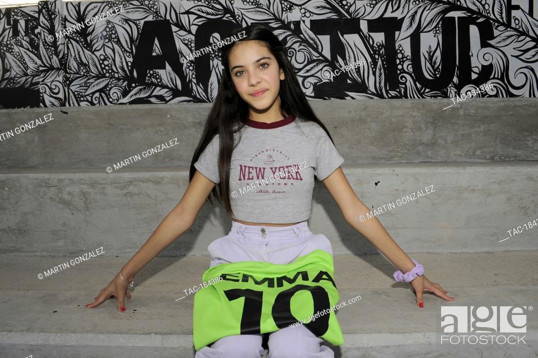 Stock Photo: PUEBLA, MEXICO – DECEMBER 19: Actress Cassandra Iturralde poses for photos during the press conference 'Emma en Los Olivos' at  Los Olivos Football Club on.