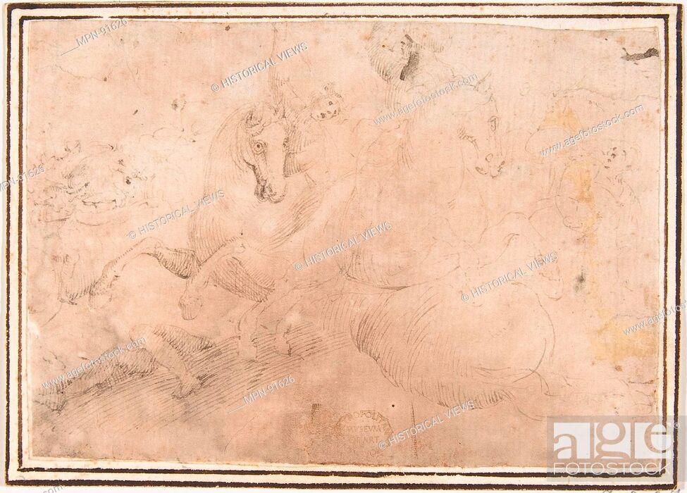 Cavalry Engagement Artist Attributed To Francesco Allegrini