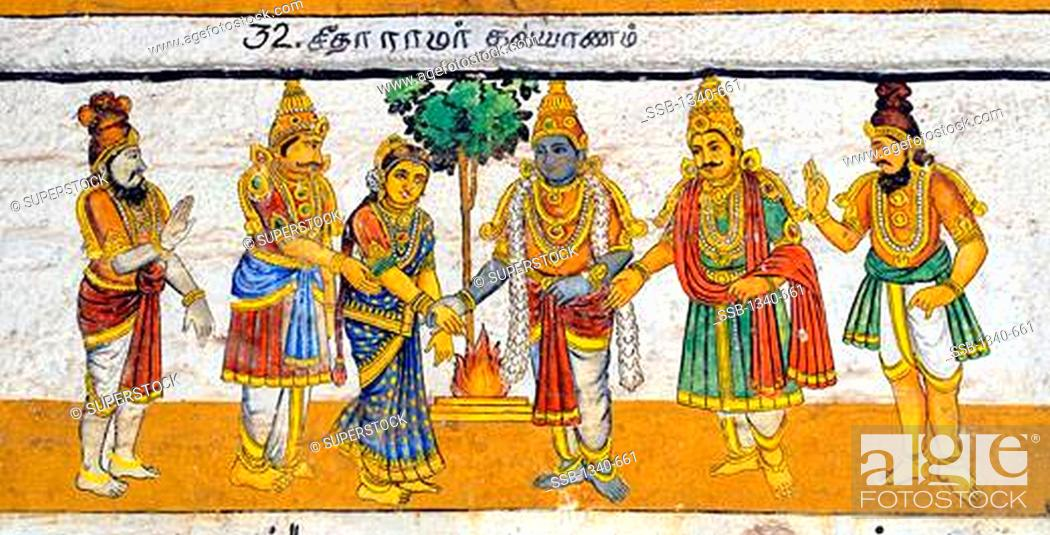 Murals- Epic Ramayana-Wall Paintings in Ramasamy Temple at Kumbakonam,  Tamil Nadu, Stock Photo, Picture And Rights Managed Image. Pic.  SSB-1340-661 | agefotostock