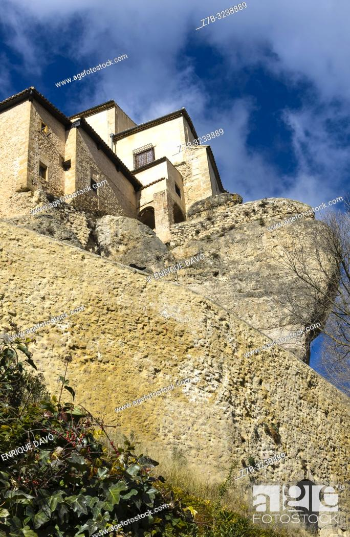 Stock Photo: View of a mountain with pending houses close to Cuenca old town.