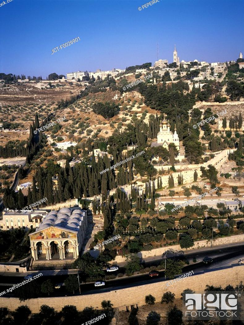 Stock Photo: Israel, Jerusalem, Kidron Valley from the Mount of Olives, church of all Nations in the foreground.