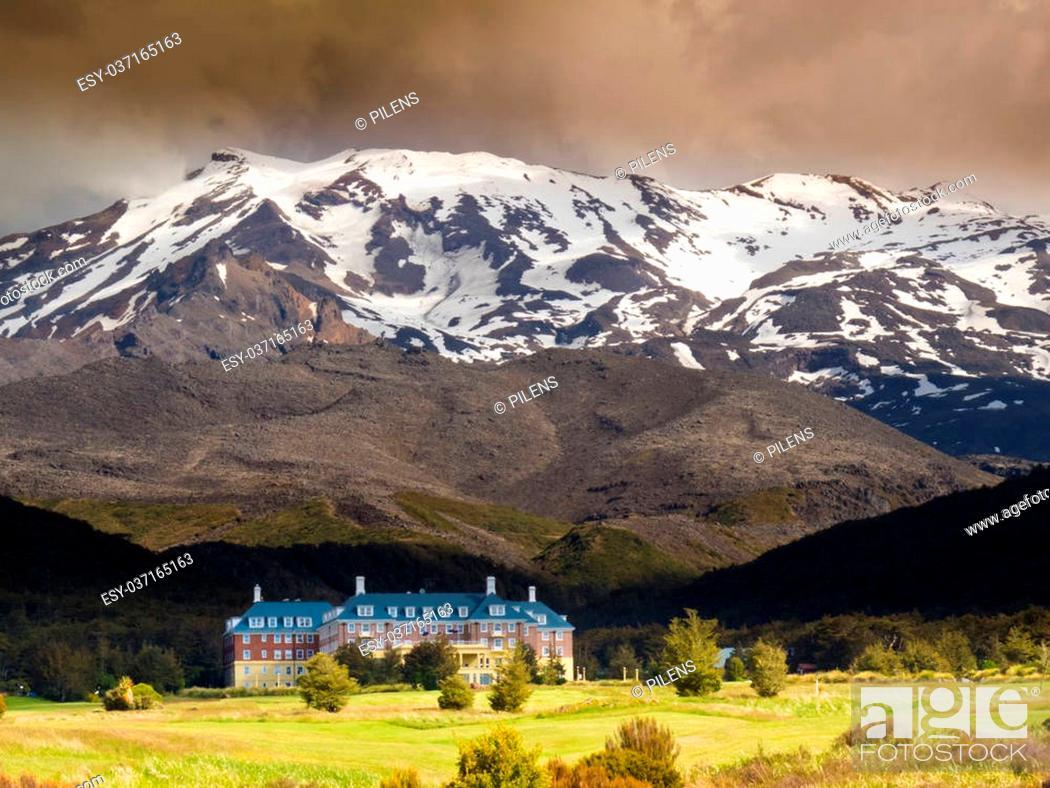 Stock Photo: Whakapapa Village at the base of volcano Mount Ruapehu in Tongariro National Park North Island of New Zealand.