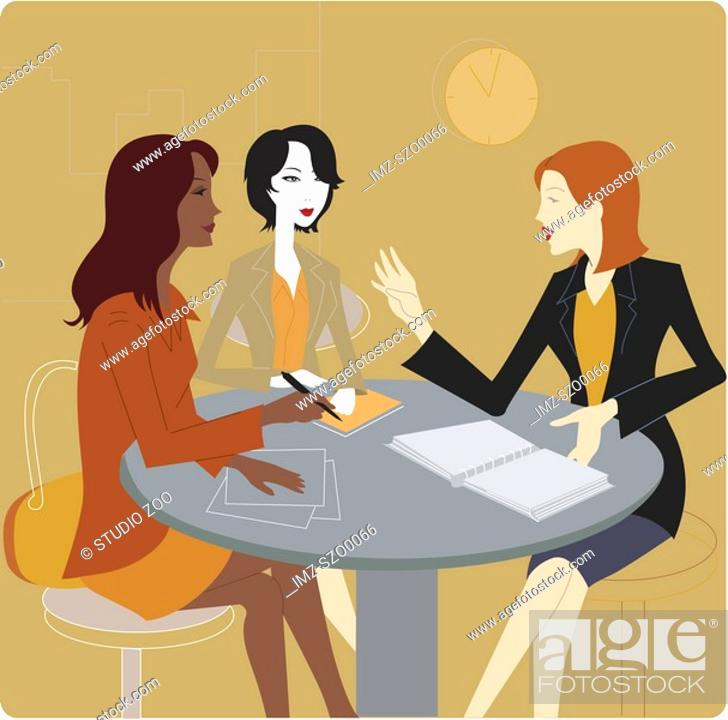 Stock Photo: Three businesswomen having a meeting.
