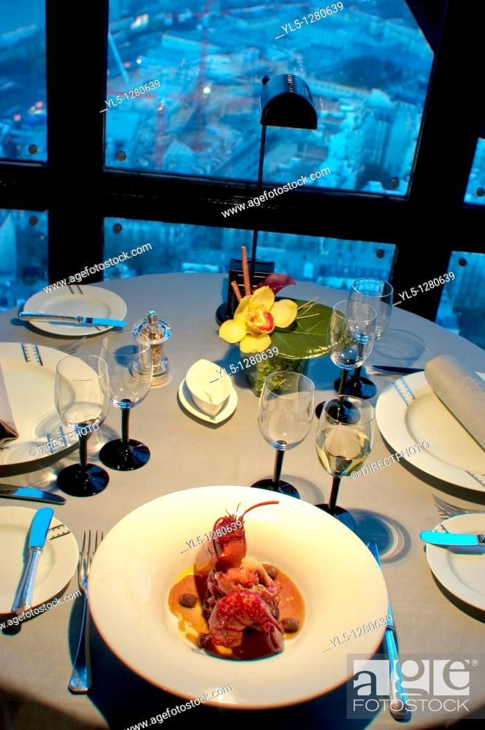 Stock Photo: Paris, France, Haute-Cuisine French Cuisine Restaurant in Eiffel Tower, Jules Verne Detail, Lobster Plate.