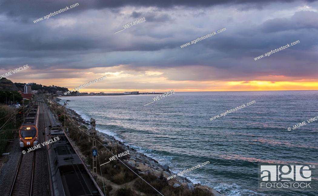 Stock Photo: On the horizon the port of Arenys de Mar, Barcelona.