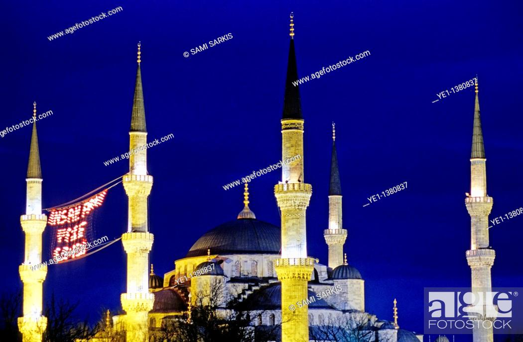 Stock Photo: Illuminated towers of the Blue Mosque at night, Istanbul, Turkey.