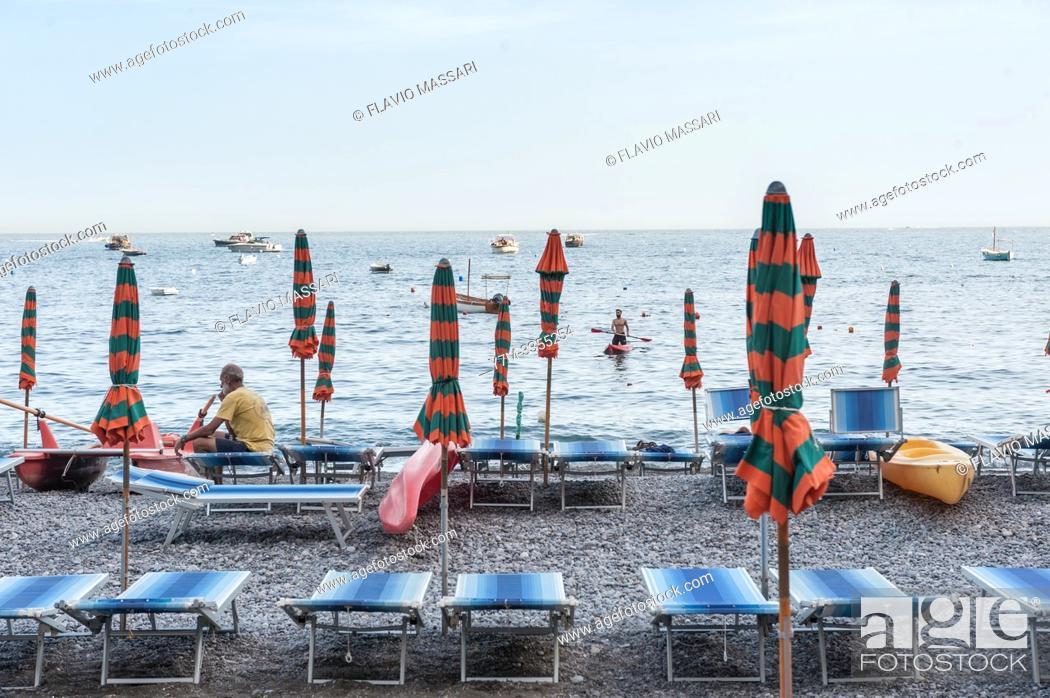 Stock Photo: Amalfi Coast: Positano (Salerno). Beach.