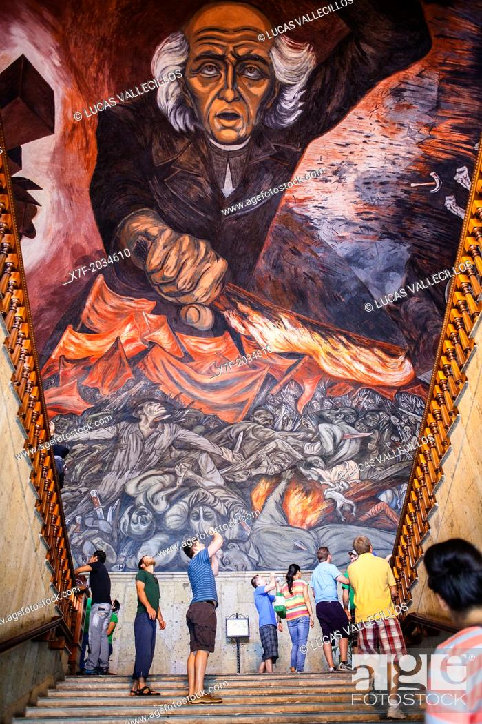 Hidalgo Mural Painting By Jose Clemente Orozco Over The Main