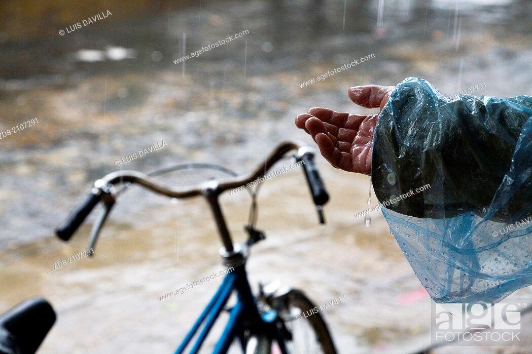 Stock Photo: monsoon in hoian. vietnam.