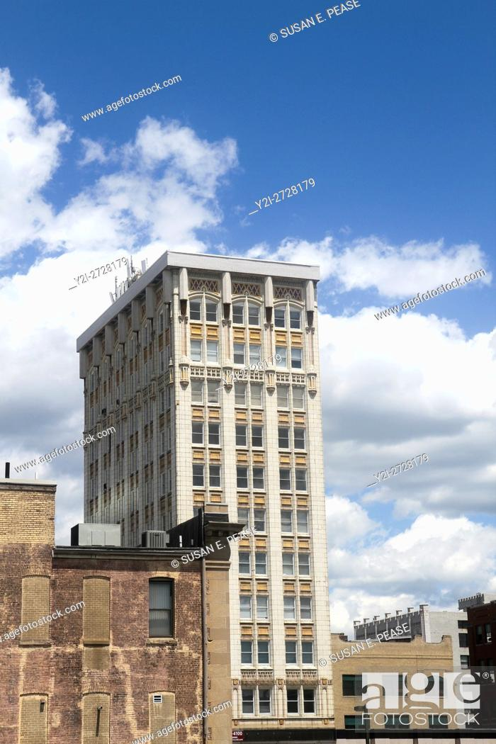 Stock Photo: Building viewed during the Scranton Limited train ride, Steamtown National Historic Site, Scranton, Pennsylvania, United States, North America.