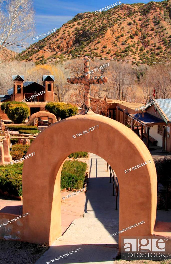 Stock Photo: El Santuario de Chimayo along the High Road to Taos in Northern New Mexico.