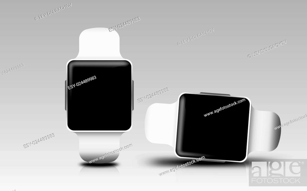 Photo de stock: modern technology, object and media concept - smart watches with black blank screen over gray background.