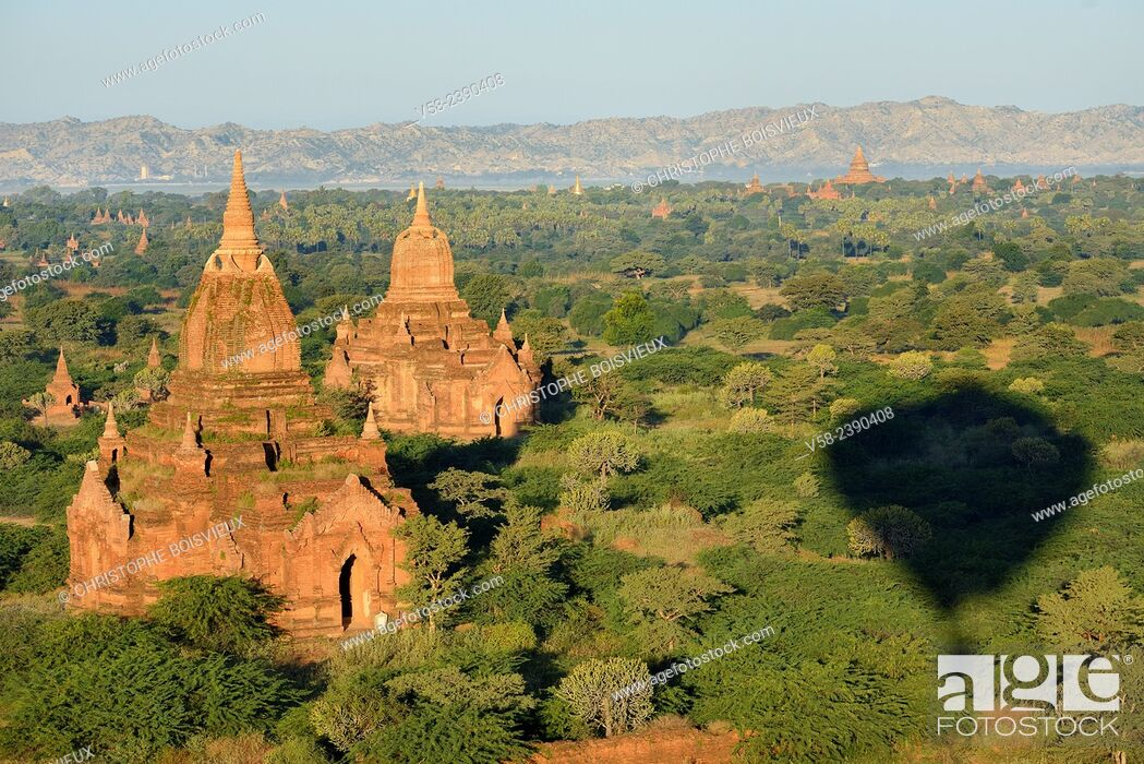 Stock Photo: Myanmar, Bagan from above.