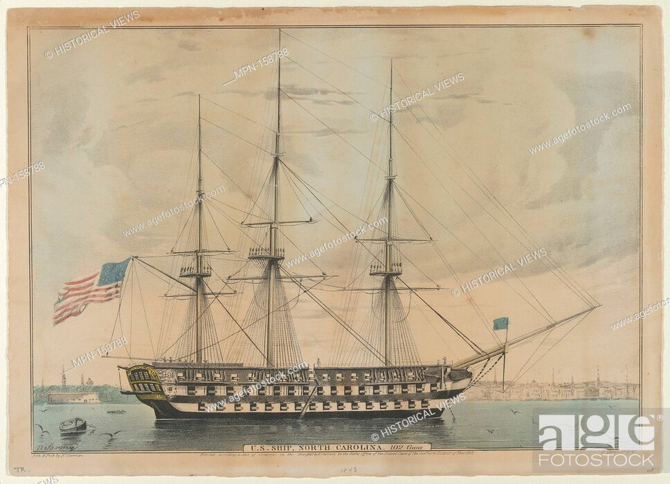 Imagen: U. S. Ship North Carolina, 102 Guns. Lithographer: Lithographed and published by Nathaniel Currier (American, Roxbury, Massachusetts 1813-1888 New York);.
