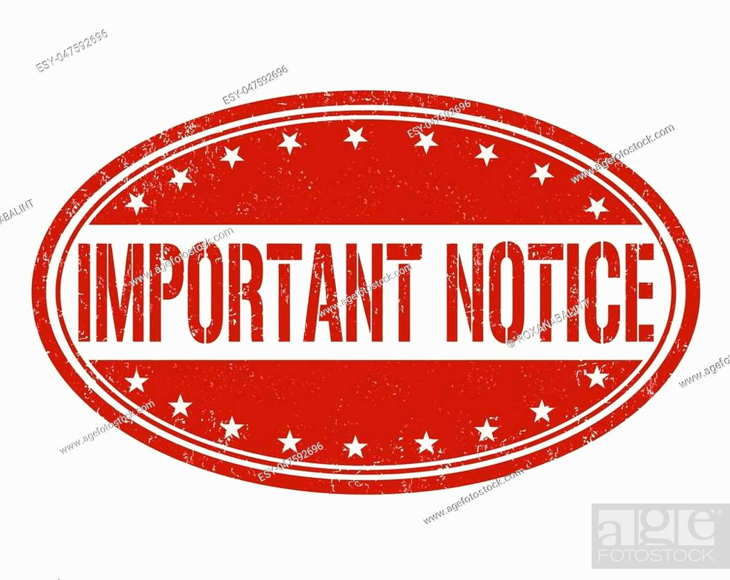 Stock Vector: Important notice grunge rubber stamp on white background, vector.
