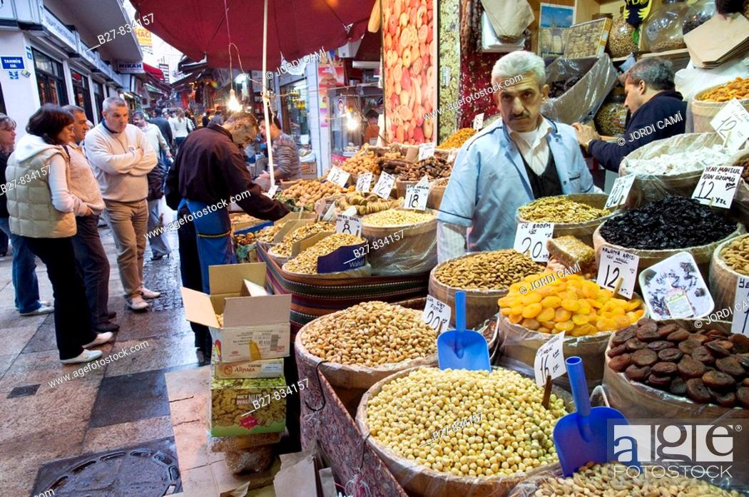 Stock Photo: Dried fruits shop  in the Misir Carsisi (Egyptian bazaar). Istanbul. Turkey.