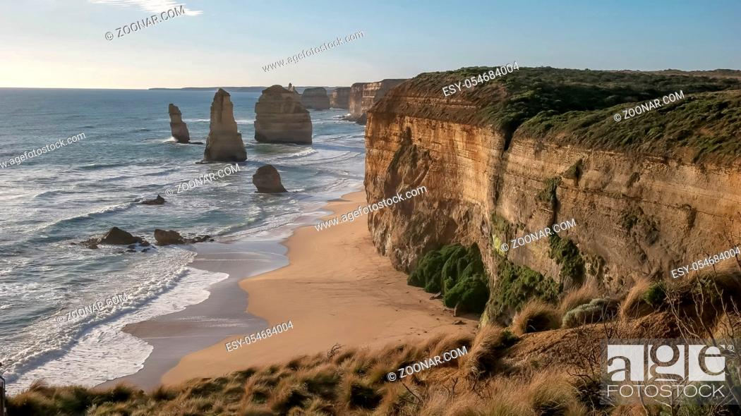 Stock Photo: afternoon view of the high cliffs at the twelve apostles in port campbell national park on the great ocean road in victoria, australia.