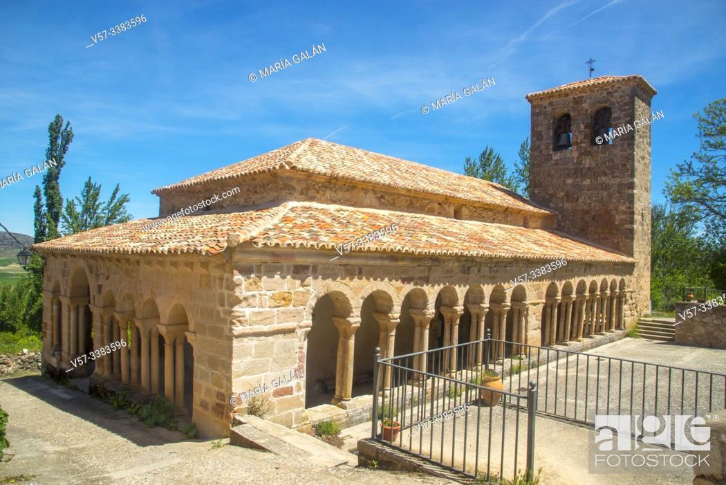 Stock Photo: Facade of El Salvador church. Carabias, Guadalajara province, Castilla La Mancha, Spain.