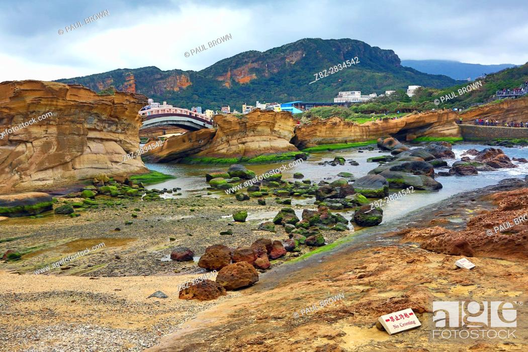 Stock Photo: Rock formations at the Yehliu GeoPark, part of the Daliao Miaocene Formation in Wanli in Taiwan.