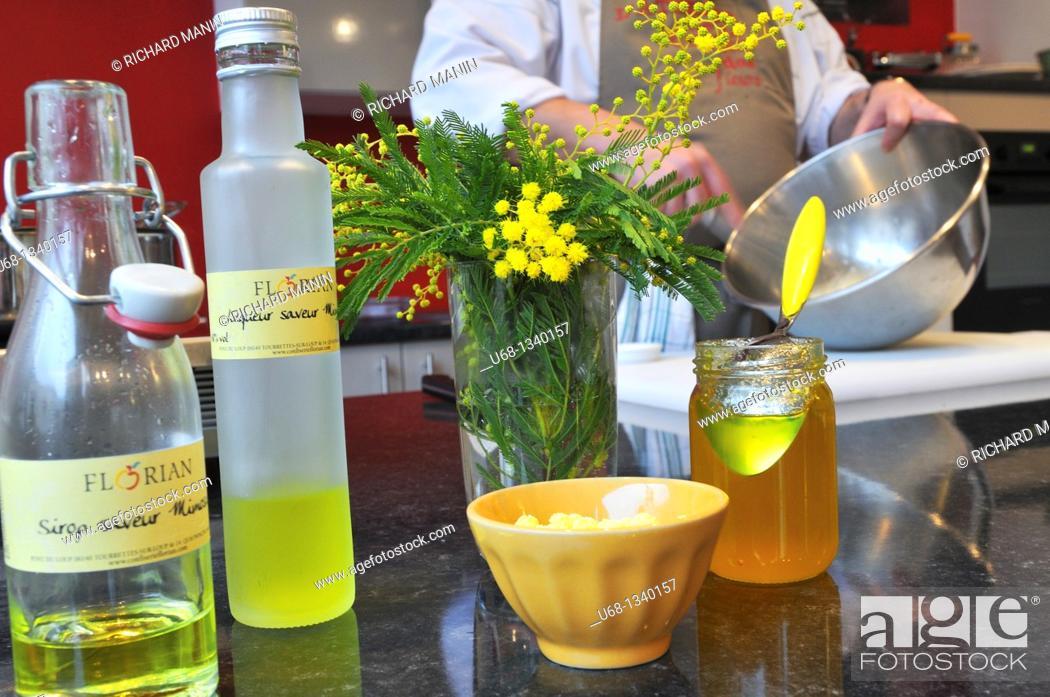 Stock Photo: Chef Yves Terrillon made a cuisine based on mimosa, Pont du Loup village, Alpes-Maritimes, France.