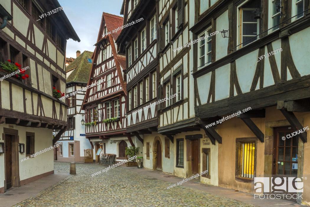 Stock Photo: Half timbered houses,Strasbourg, Alsace, Grand Est region, Bas-Rhin, France.