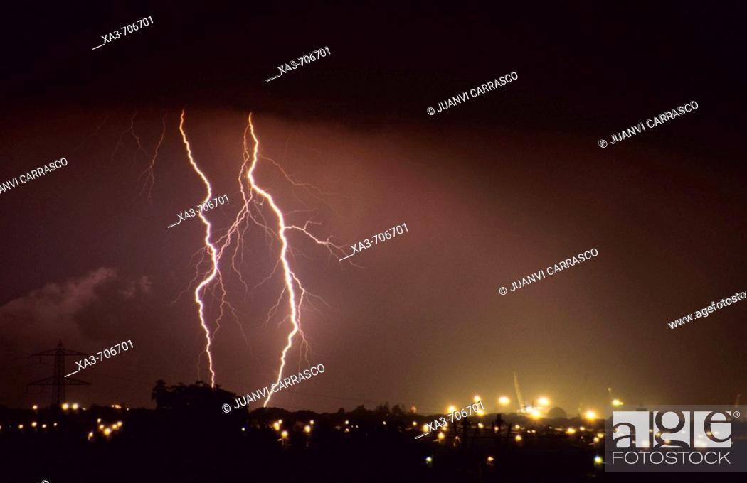 Stock Photo: Thunderstorm. Castellón, Comunidad valenciana, Spain.