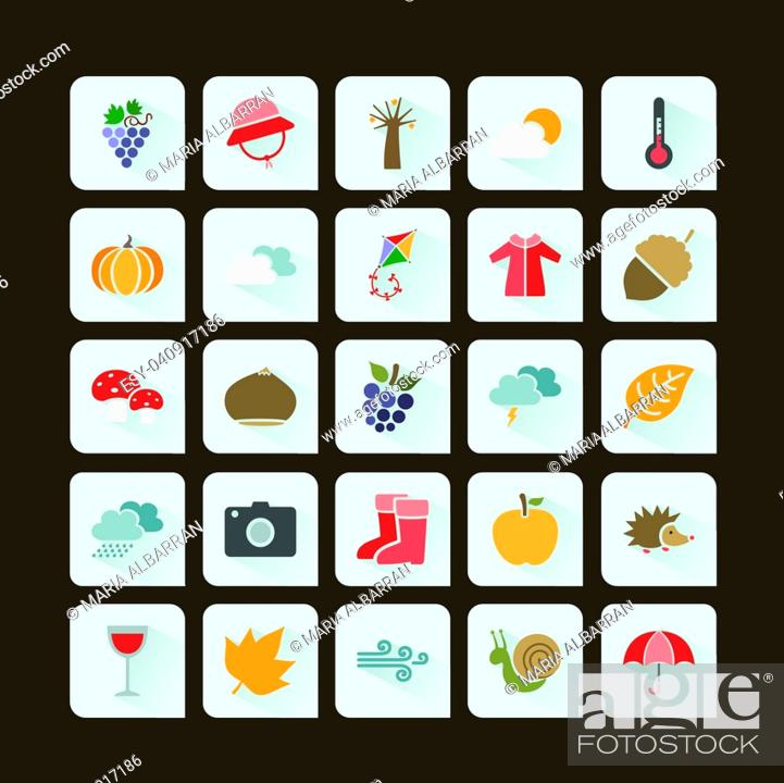 Vector: Autumn color icon set on a dark background.