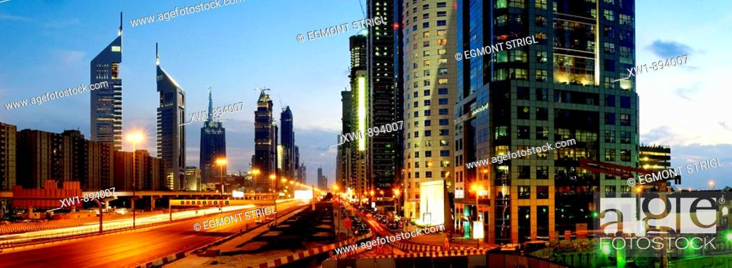Imagen: Skyscrapers, multistory buildings along Sheikh Zayed Road, Al Satwa, Emirate Dubai, United Arab Emirates, UAE, Arabia, Middle East, West Asia.