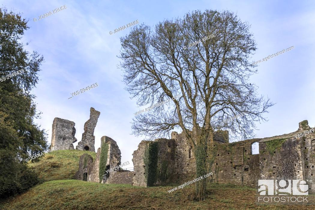 Stock Photo: Okehampton Castle, Dartmoor, Devon, England, United Kingdom.