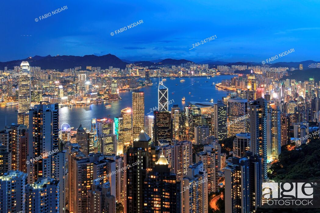 Stock Photo: Hong Kong by night, from the Victoria Peak.