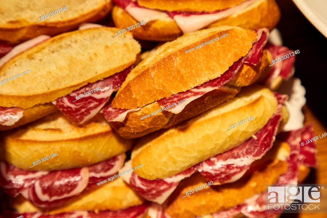 Stock Photo: Ham sandwich, Pintxos, Bar Taberna Aralar, Parte Vieja, Old Town, Donostia, San Sebastian, Gipuzkoa, Basque Country, Spain.