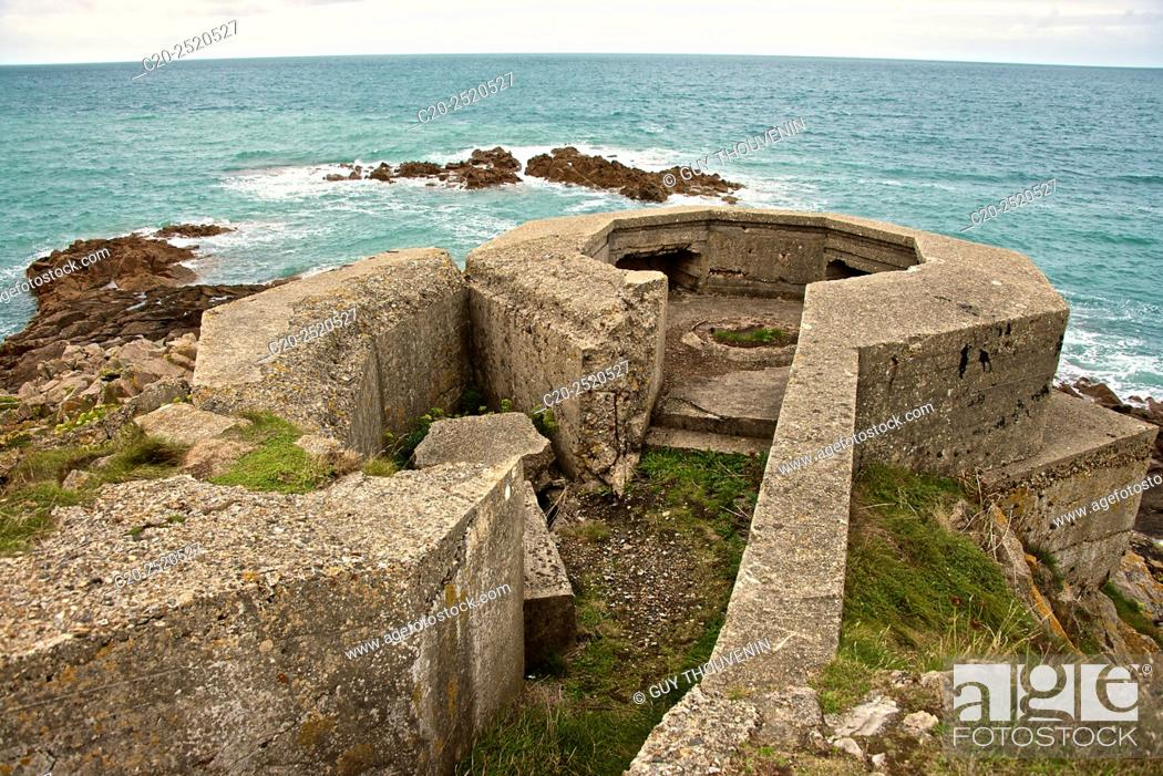 Stock Photo: Runs remaining from fortifications from second wold war, Pointe de la Porte, Digosville, near Cherbourg, Cotentin, 50, Normandy France.