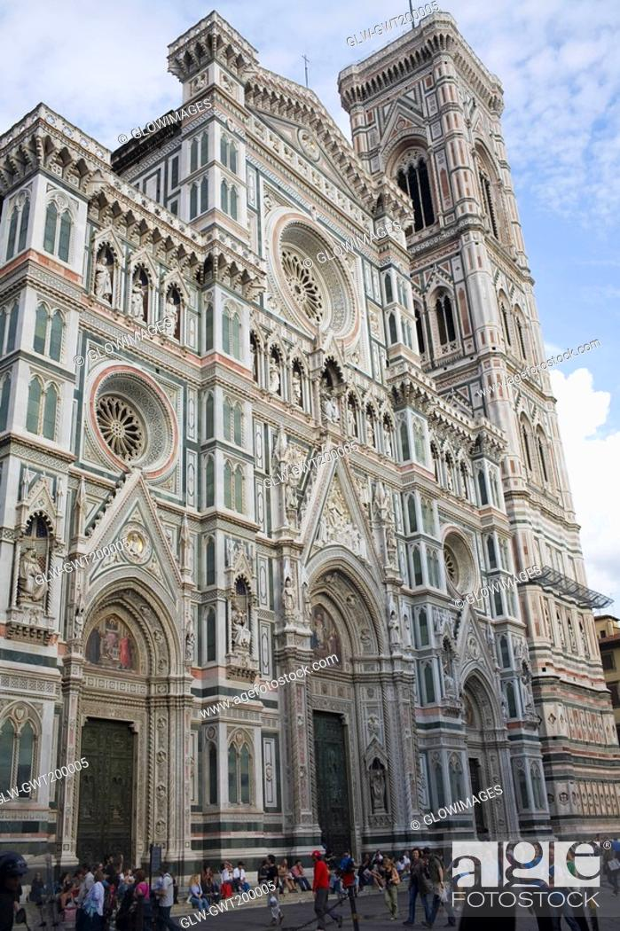 Stock Photo: Low angle view of a cathedral, Duomo Santa Maria Del Fiore, Florence, Italy.