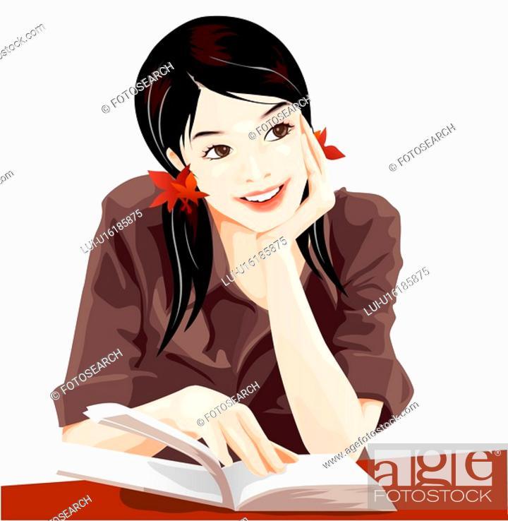Stock Photo: reading, recreation, leisure, lifestyle, book.