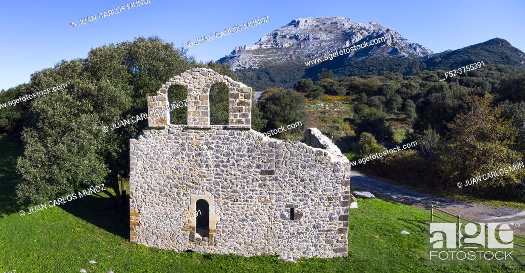 Stock Photo: View from a drone of the ruins of the hermitage of San Julian in the Liendo Valley in Cantabria, Spain, Europe.