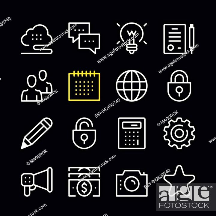 Stock Vector: Business line icons. Modern graphic elements, simple outline thin line design symbols. Vector icons set.
