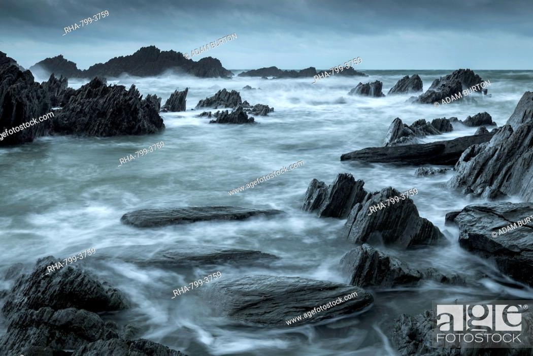 Stock Photo: Rocky cove on the dramatic North Devon coast in winter, Devon, England, United Kingdom, Europe.