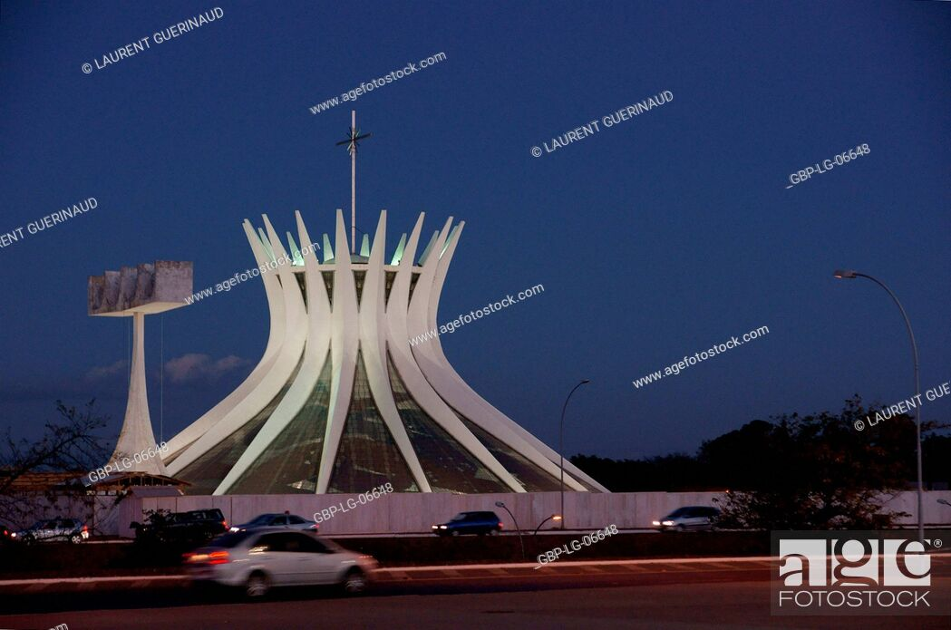 Stock Photo: Metropolitan cathedral Ours Mrs. Aparecida, city, Distrito Federal, Brasília, Brazil.