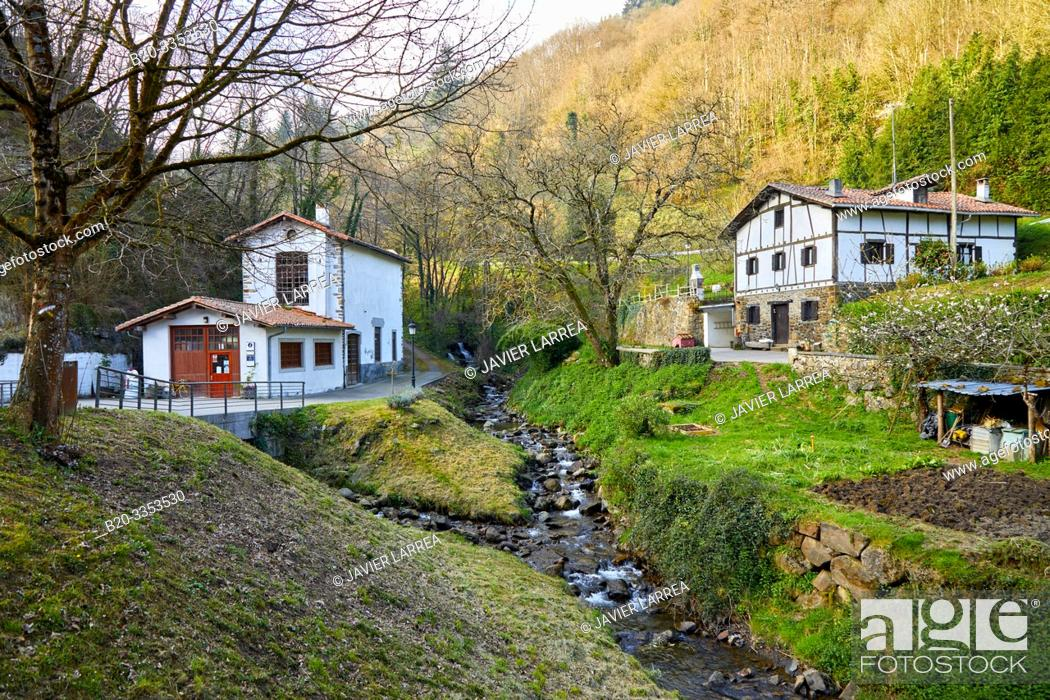 Stock Photo: Deva River, Leintz Gatzaga, Salinas de Leniz, Gipuzkoa, Basque Country, Spain.