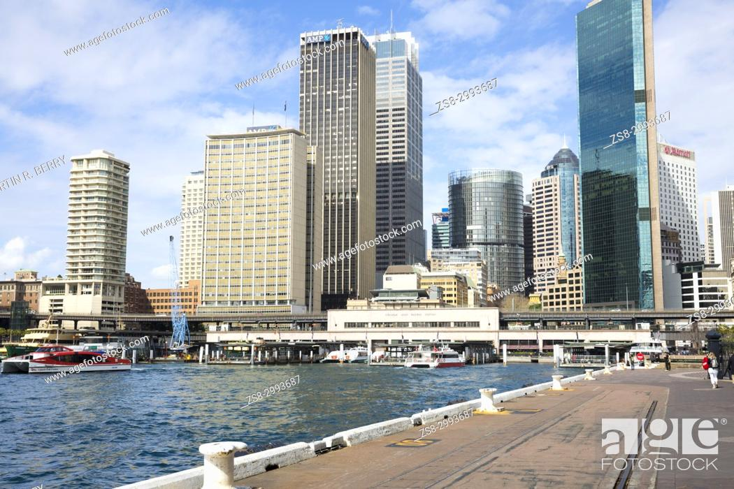 Stock Photo: View of Sydney Circular Quay and office buildings in the City Centre, Sydney, New South Wales, Australia.